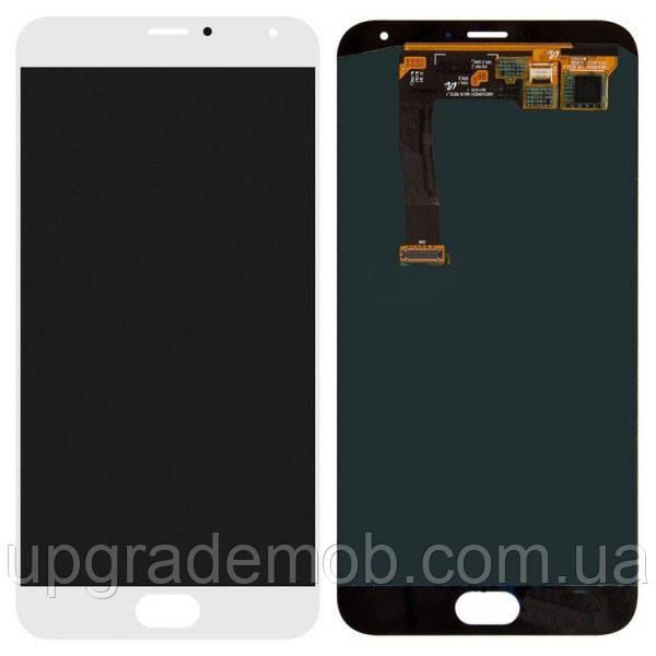 Дисплей Meizu MX5 M575/MX5e/MX5e Lite с тачскрином модуль сенсор, белый, OLED, копия хорошего качества