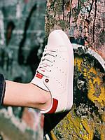 Кроссовки белые с красным задником Адидас Стэн Смит, фото 1