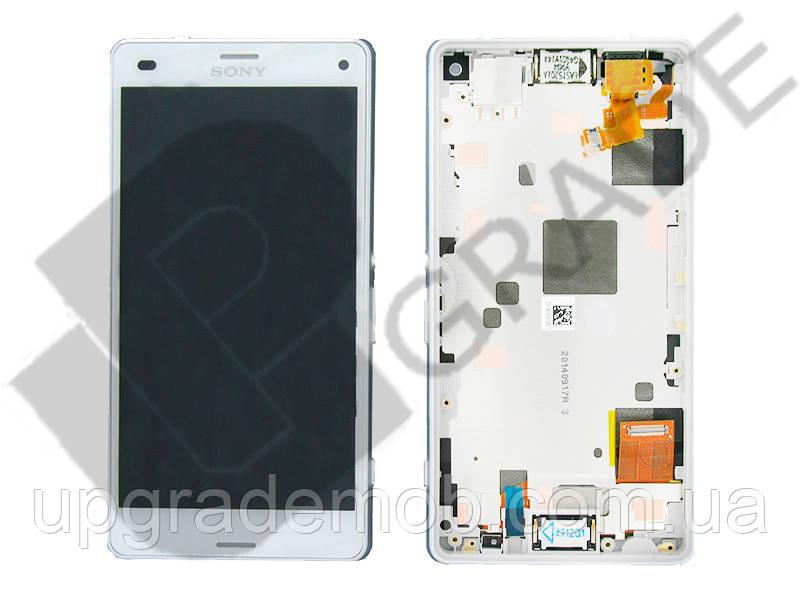 Дисплей Sony D5803 Xperia Z3 Compact/D5833 тачскрин сенсор, белый, в рамке, оригинал