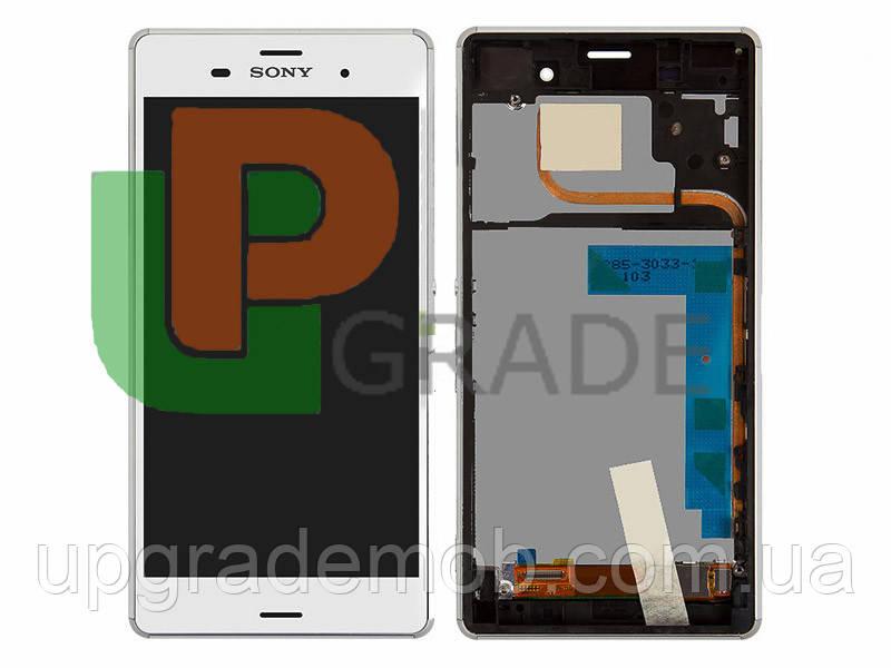 Дисплей Sony D6633 Xperia Z3 Dual тачскрин сенсор, белый, в рамке, оригинал