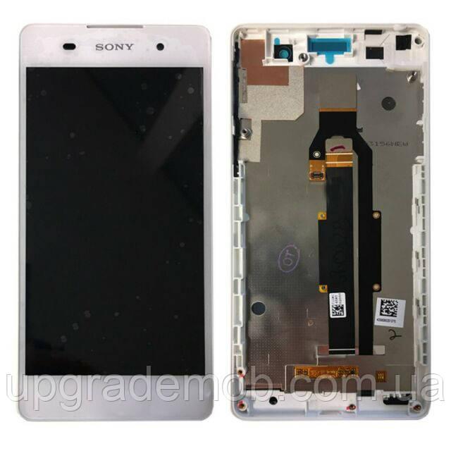 Дисплей Sony F3311 Xperia E5/F3313 тачскрин сенсор модуль, белый, в рамке, оригинал