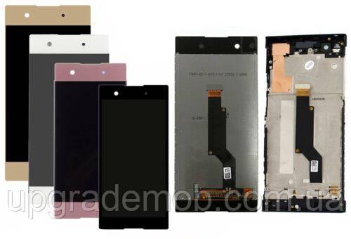 Дисплей Sony G3112 Xperia XA1 Dual/G3116/G3121/G3123/G3125 с тачскрином модуль сенсор, белый, в рамке