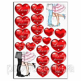 Парочки с сердечками 9-10 см вафельная картинка
