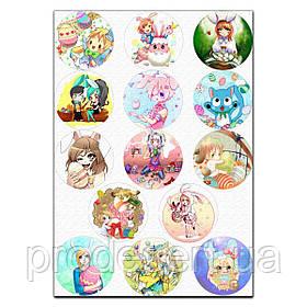 Пасхальный декор аниме 6 см вафельная картинка
