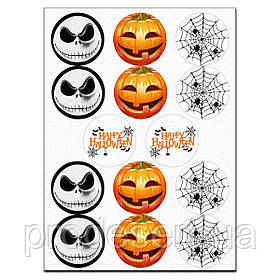 Капкейки-6 см Хеллоуин вафельная картинка