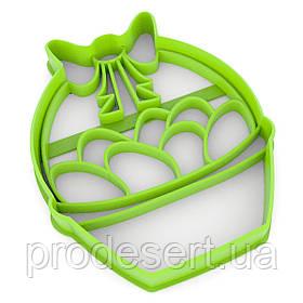 Вирубка для пряників Кошик з яйцями 9,5*7,5 см (3D)