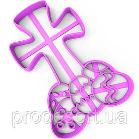 Вирубка для пряників Хрест з великодніми яйцями 12*9 см (3D)