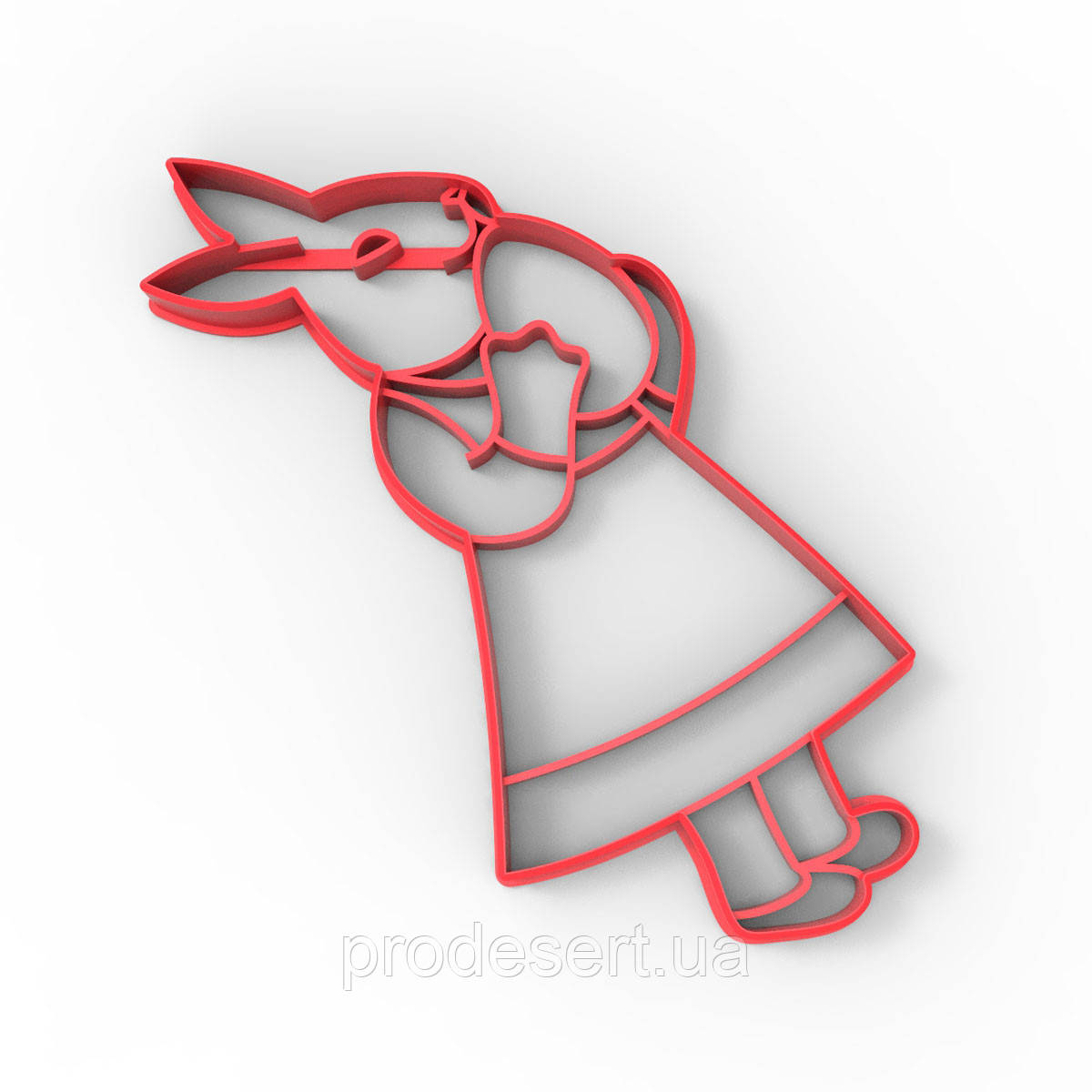 Вырубка для пряников Пасхальный кролик Девочка 16*8 см (3D)