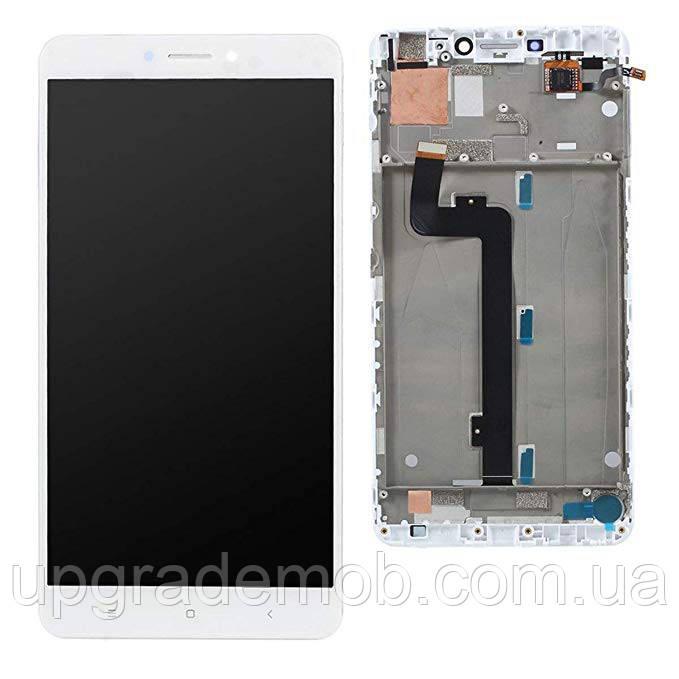 Дисплей Xiaomi Mi Max 2 тачскрин сенсор модуль, белый, в рамке
