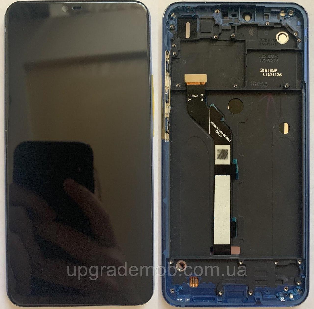 Дисплей Xiaomi Mi8 Lite/Mi8X тачскрин сенсор модуль, черный, в рамке синего цвета, оригинал