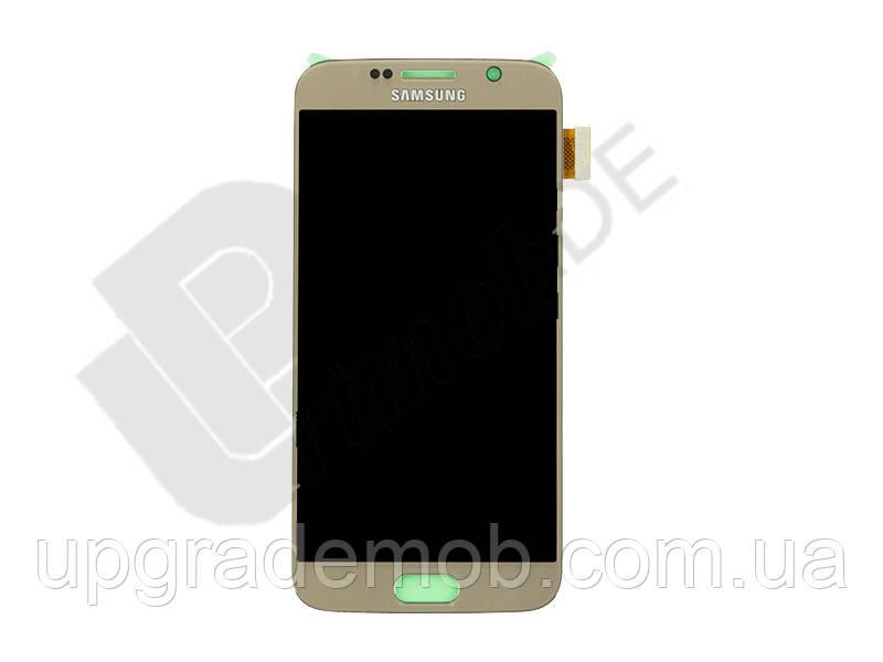 Дисплей Samsung G920F Galaxy S6 тачскрин сенсор, золотистый, Gold Platinum, Amoled, оригинал , переклеено