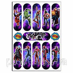 Супергерої 12*3,5 см вафельна картинка для еклерів