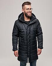 Мужская куртка пуховик WL-2001 черный длинный зима 2021