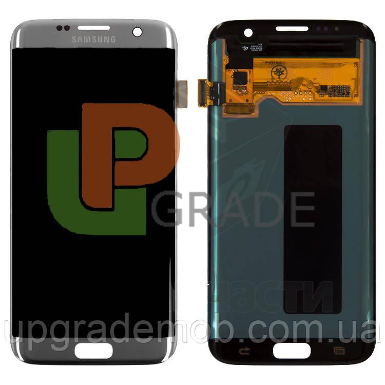 Дисплей Samsung G935F Galaxy S7 Edge тачскрин сенсор серебристый Amoled оригинал переклеено стекло