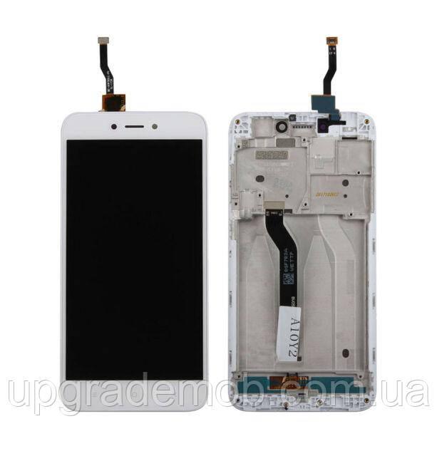 Дисплей Xiaomi Redmi 5A/Redmi Go тачскрин сенсор модуль, белый, в рамке