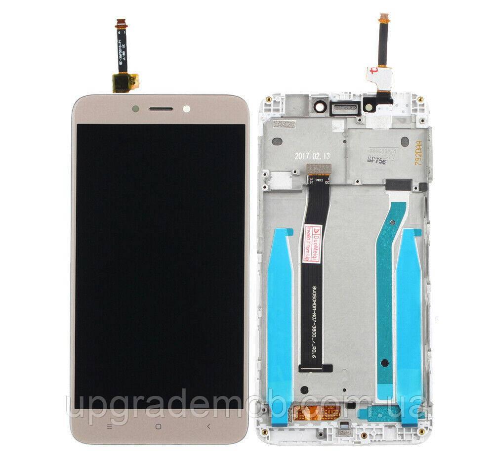 Дисплей Xiaomi Redmi 6/Redmi 6A тачскрин сенсор модуль, золотистый, в рамке, без датчика приближения и