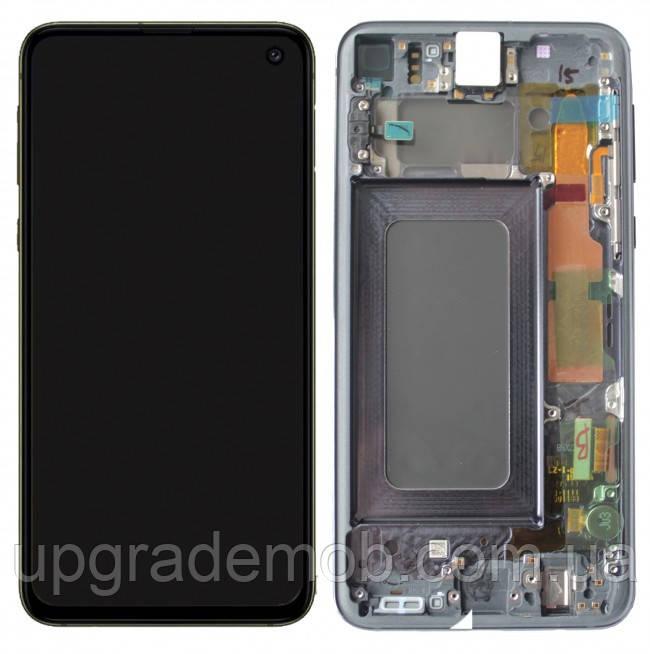 Дисплей Samsung G970F Galaxy S10e тачскрин сенсор черный в рамке Prism Black Amoled оригинал переклеено стекло
