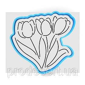 Букет тюльпанов вырубка с трафаретом 11*11.5 см (TR-1)