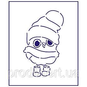 Трафарет Пінгвін в шапочці 3 11*6.5 см (TR-1)