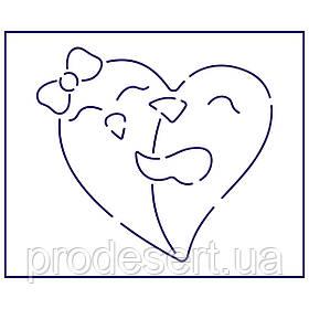 Трафарет Влюбленые в серці 10*11 см (TR-1)