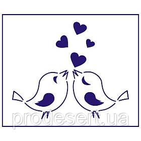 Трафарет Влюбленые пташки-2 10*12 см (TR-1)