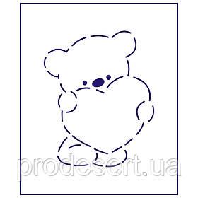 Трафарет Ведмедик з серцем 10*8 см (TR-1)