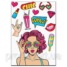 Дівчина поп-арт Summer вафельна картинка