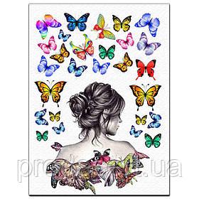 Силует дівчини 18 см з метеликами вафельна картинка