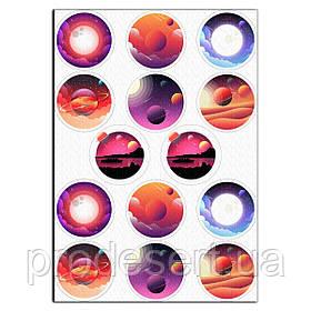 Капкейки-6 см Космос вафельна картинка