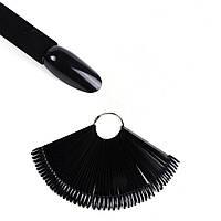 Палитра для гель-лаков на кольце миндальная форма 50 шт. черный цвет.