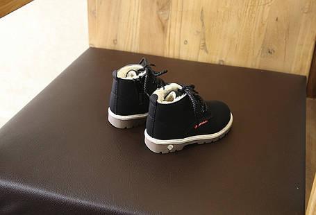 Ботинки детские зимние из эко нубука унисекс 21-30 р. черные, фото 2