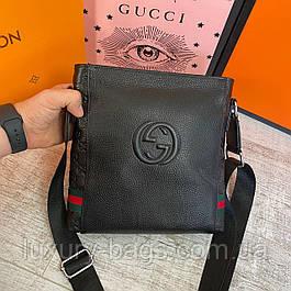 Мужская кожаная сумка через плечо Gucci