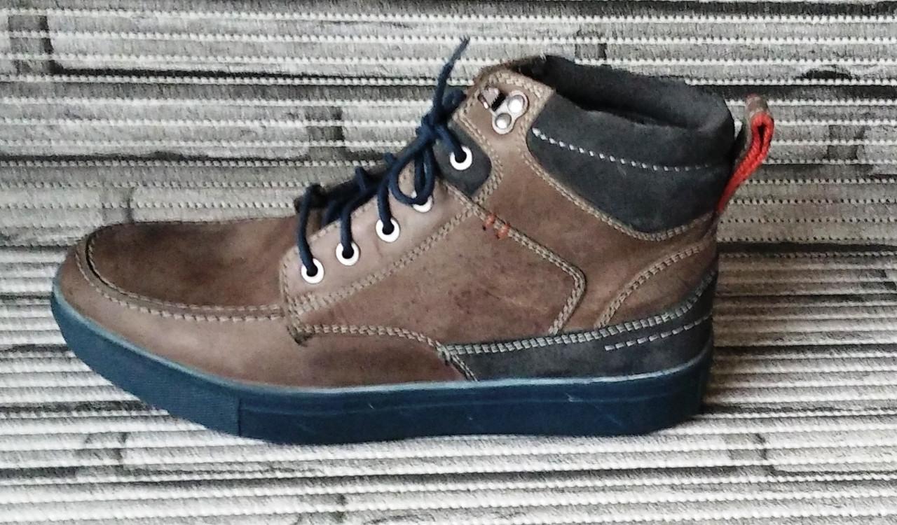 Мужские кожаные ботинки Differente (Италия). Осенние ботинки зимние утепленные шерстью. 42
