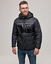 Теплая мужская куртка пуховик ZK-01 черный короткий зима 2021