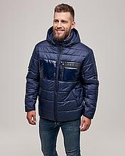 Теплая мужская куртка пуховик ZK-01 синий короткий зима 2021