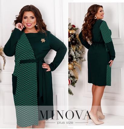 Яркое платье большого размера с контрастными вставками Размеры: 50-52, 54-56, фото 2