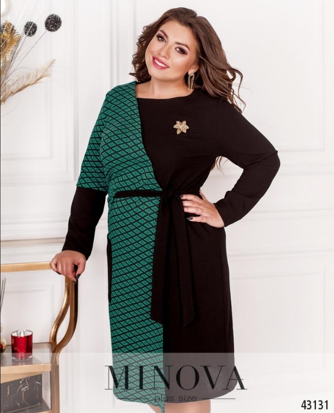 Яркое платье большого размера с контрастными вставками Размеры: 50-52, 58-60, 66-68
