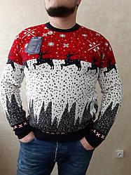 Чоловічий новорічний зимовий батальний светр з оленями