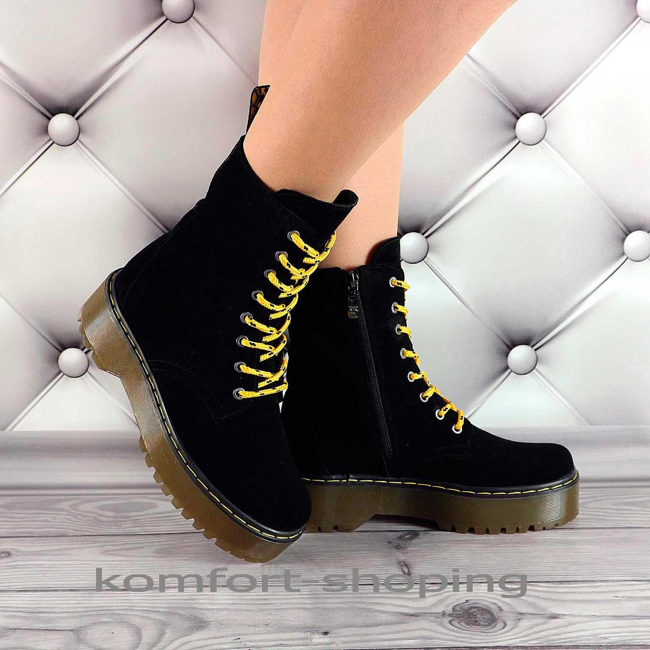 Ботинки женские черные замшевые   V 1320