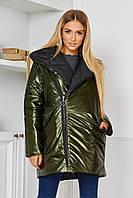 Женская Куртка двусторонняя черная плащевка и перламутровая голограммная плащевая