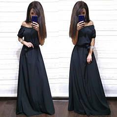 Вечернее платье в пол с открытыми плечами и высокой талией