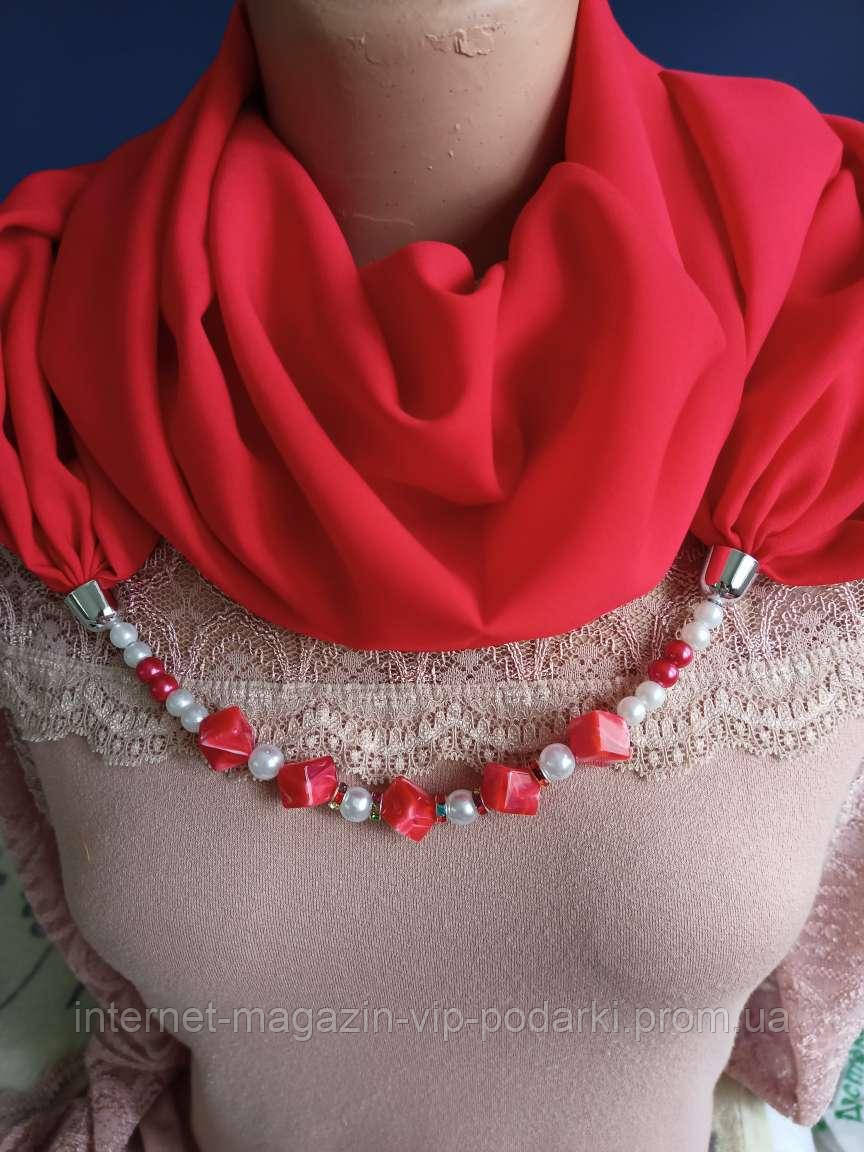 Шарф с ожерельем однотонные! красный 2