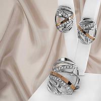 """Серебряный набор серьги и кольцо с золотыми пластинами """"324 """", фото 1"""