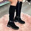 Сапоги женские замшевые на маленьком каблуке. Цвет черный. Батал!, фото 6