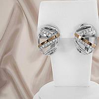 """Сережки срібні з золотими пластинами """"324"""", фото 1"""