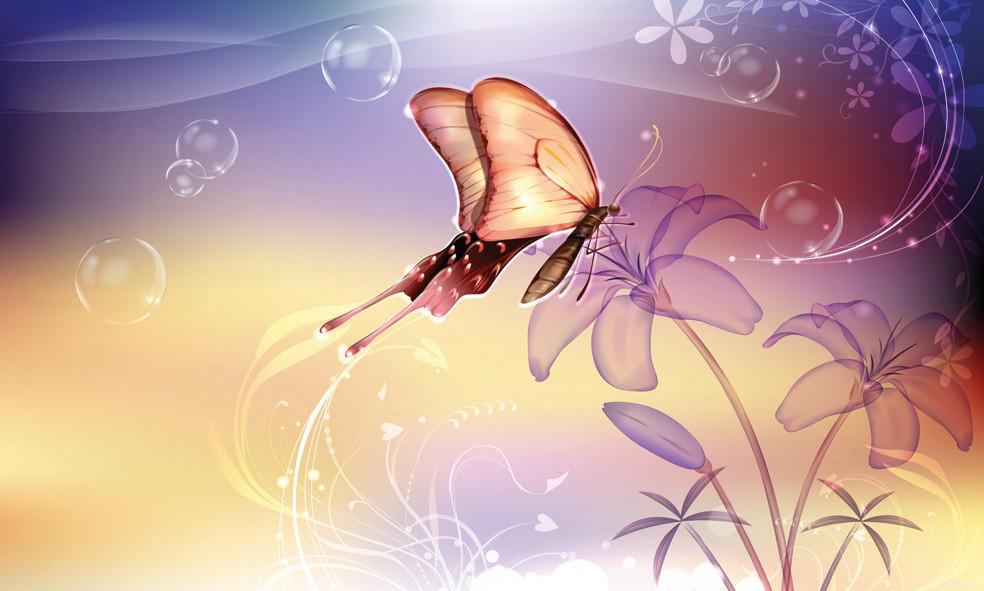 """Картина на стекле """"Бабочка фэнтези"""""""