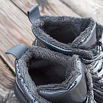 Серые ботинки дутики на платформе бронзовые женские высокие ПРОШИТЫ деми демисезон, фото 2