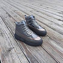 Серые ботинки дутики на платформе бронзовые женские высокие ПРОШИТЫ деми демисезон, фото 3