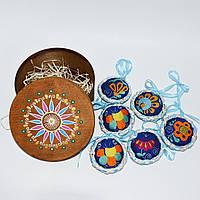 Подарочный набор синих ёлочных украшений в круглой коробке