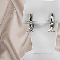 """Сережки срібні з золотими пластинами """"351"""", фото 1"""